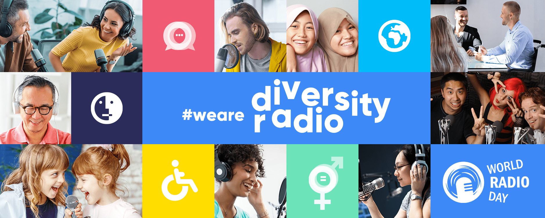 World Radio Day Banner with photos of people listening